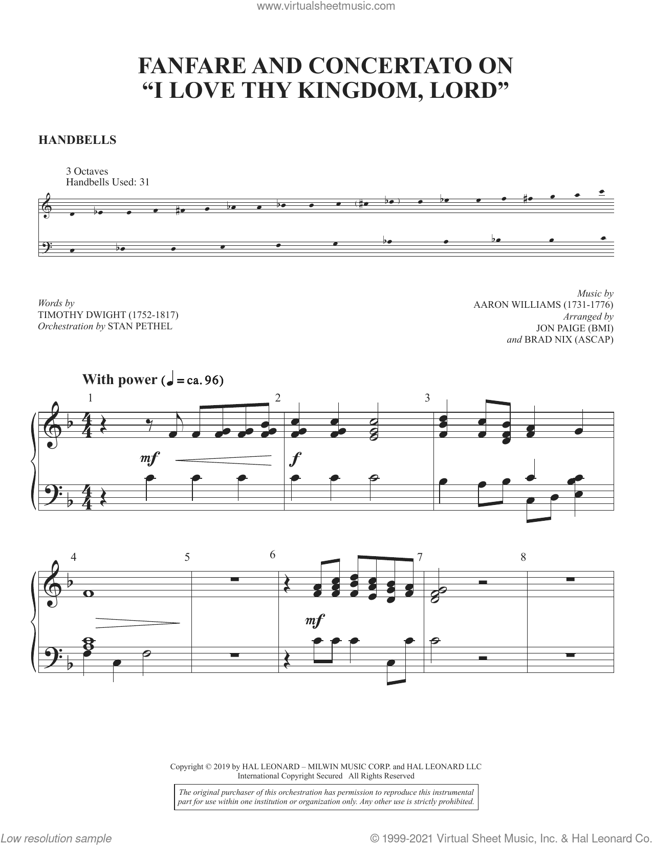 Fanfare and Concertato on 'I Love Thy Kingdom, Lord' (arr. Jon Paige and Brad Nix) sheet music for orchestra/band (handbells) by Timothy Dwight, Brad Nix and Jon Paige, intermediate skill level