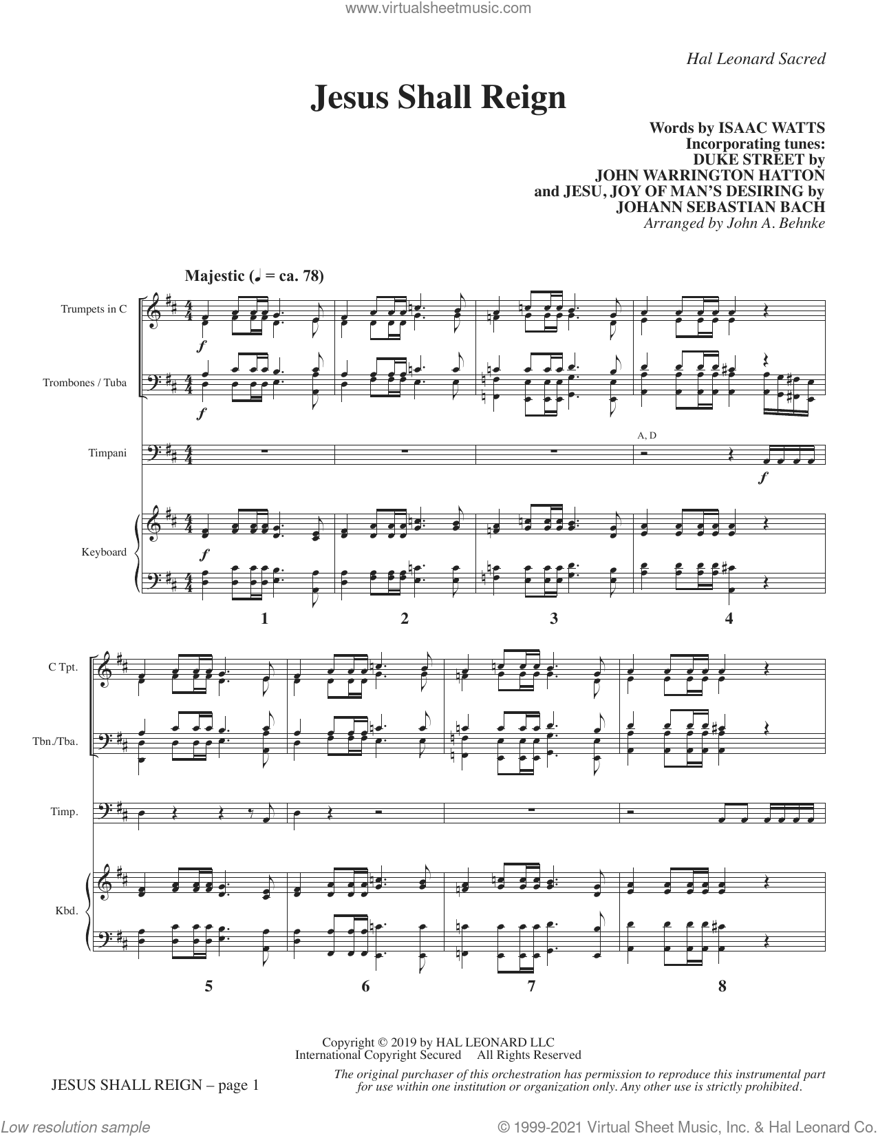 Jesus Shall Reign (arr. John A. Behnke) (COMPLETE) sheet music for orchestra/band by Johann Sebastian Bach, Isaac Watts, John A. Behnke and John Hatton, intermediate skill level