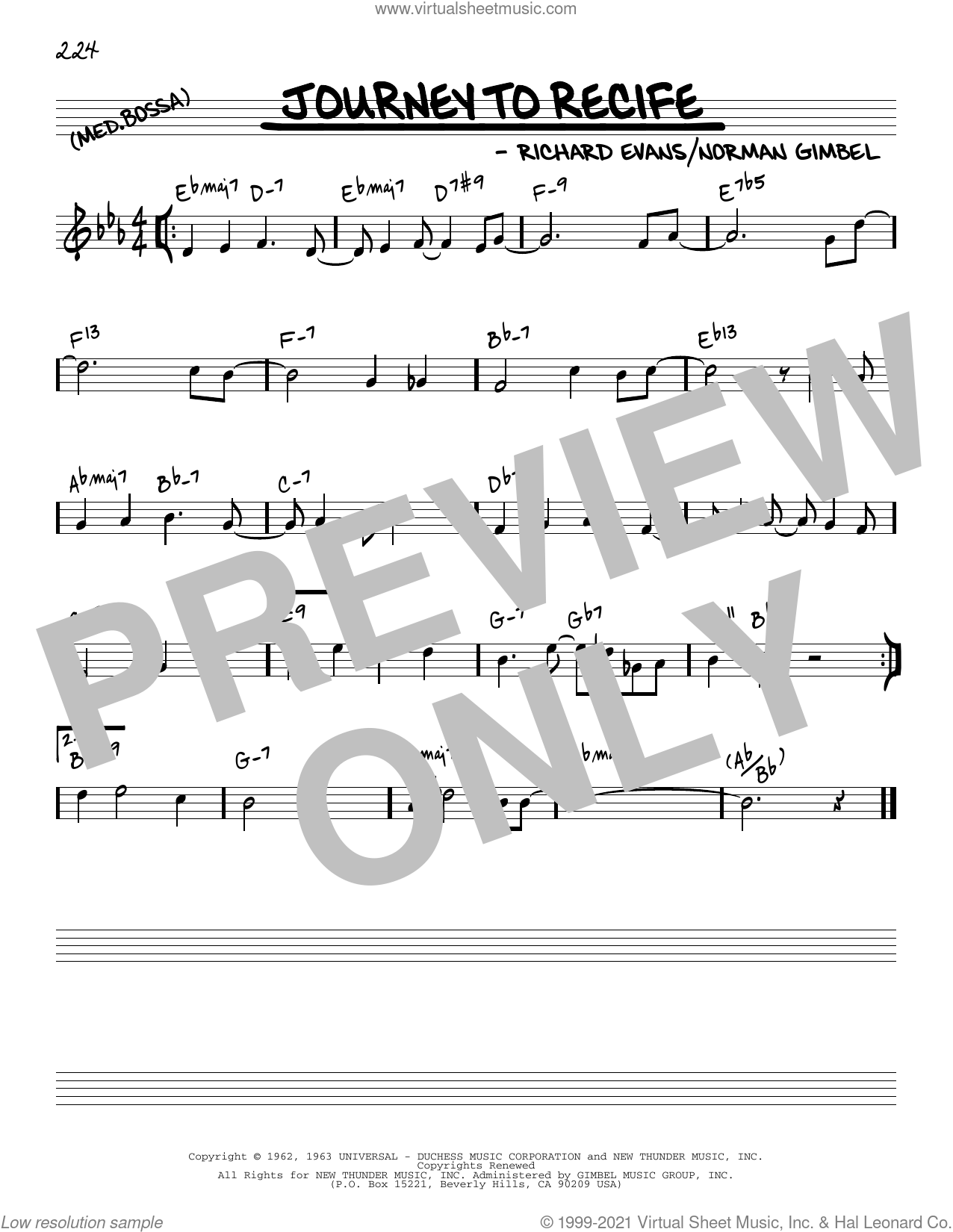 Journey To Recife [Reharmonized version] (arr. Jack Grassel) sheet music for voice and other instruments (real book) by Norman Gimbel, Jack Grassel and Richard Evans, intermediate skill level