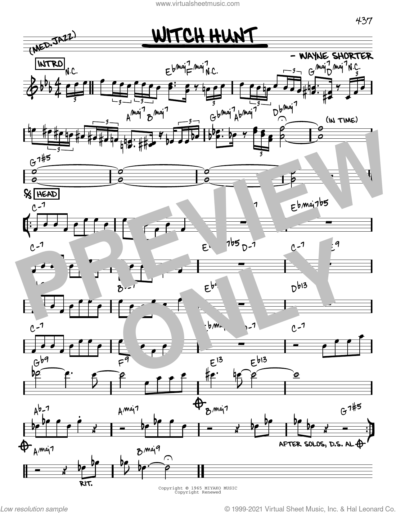 Witch Hunt [Reharmonized version] (arr. Jack Grassel) sheet music for voice and other instruments (real book) by Wayne Shorter and Jack Grassel, intermediate skill level