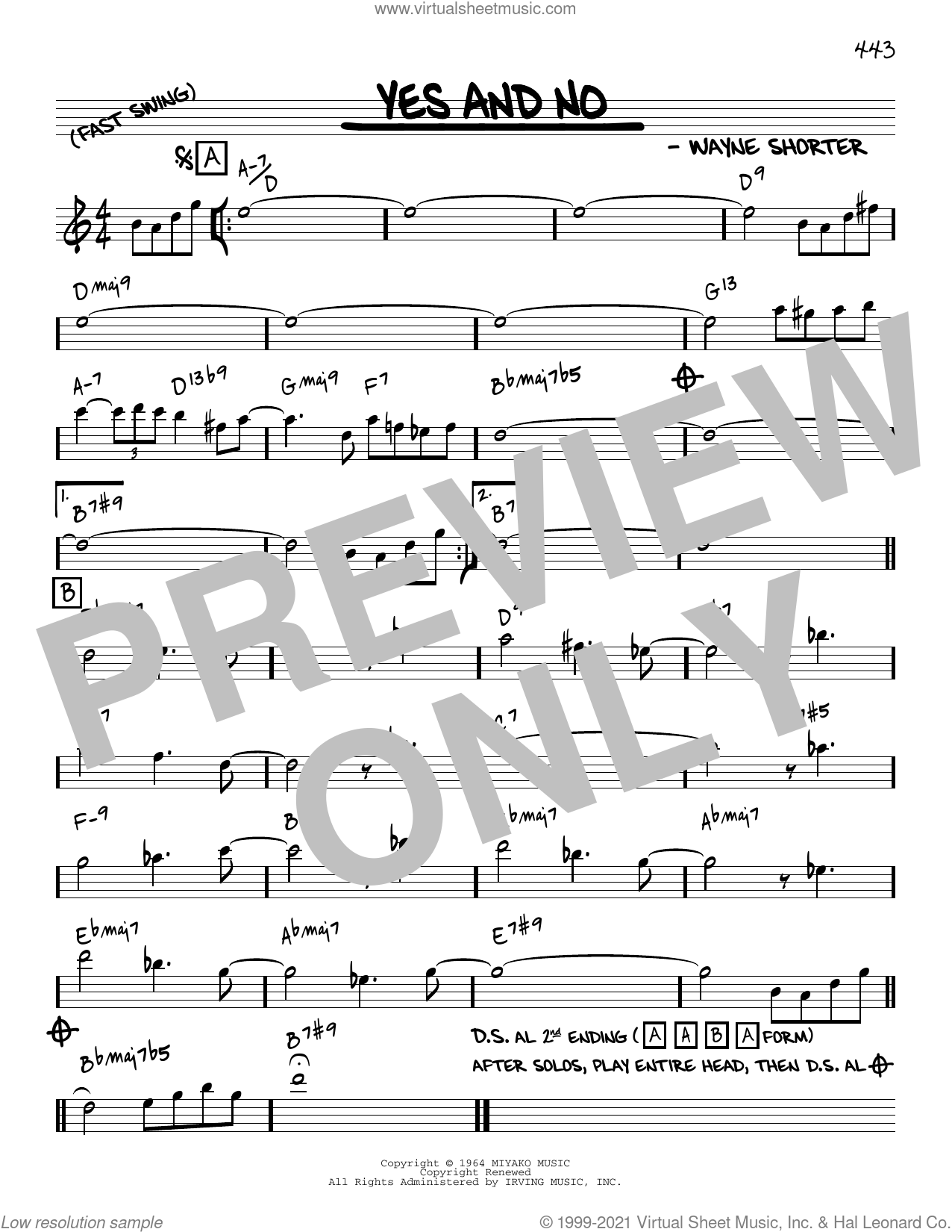 Yes And No [Reharmonized version] (arr. Jack Grassel) sheet music for voice and other instruments (real book) by Wayne Shorter and Jack Grassel, intermediate skill level