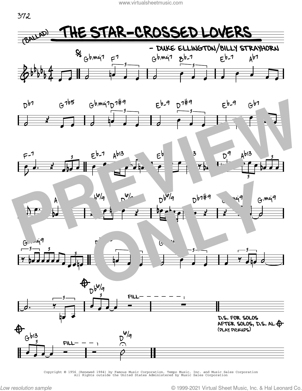 The Star-Crossed Lovers [Reharmonized version] (arr. Jack Grassel) sheet music for voice and other instruments (real book) by Duke Ellington, Jack Grassel and Billy Strayhorn, intermediate skill level
