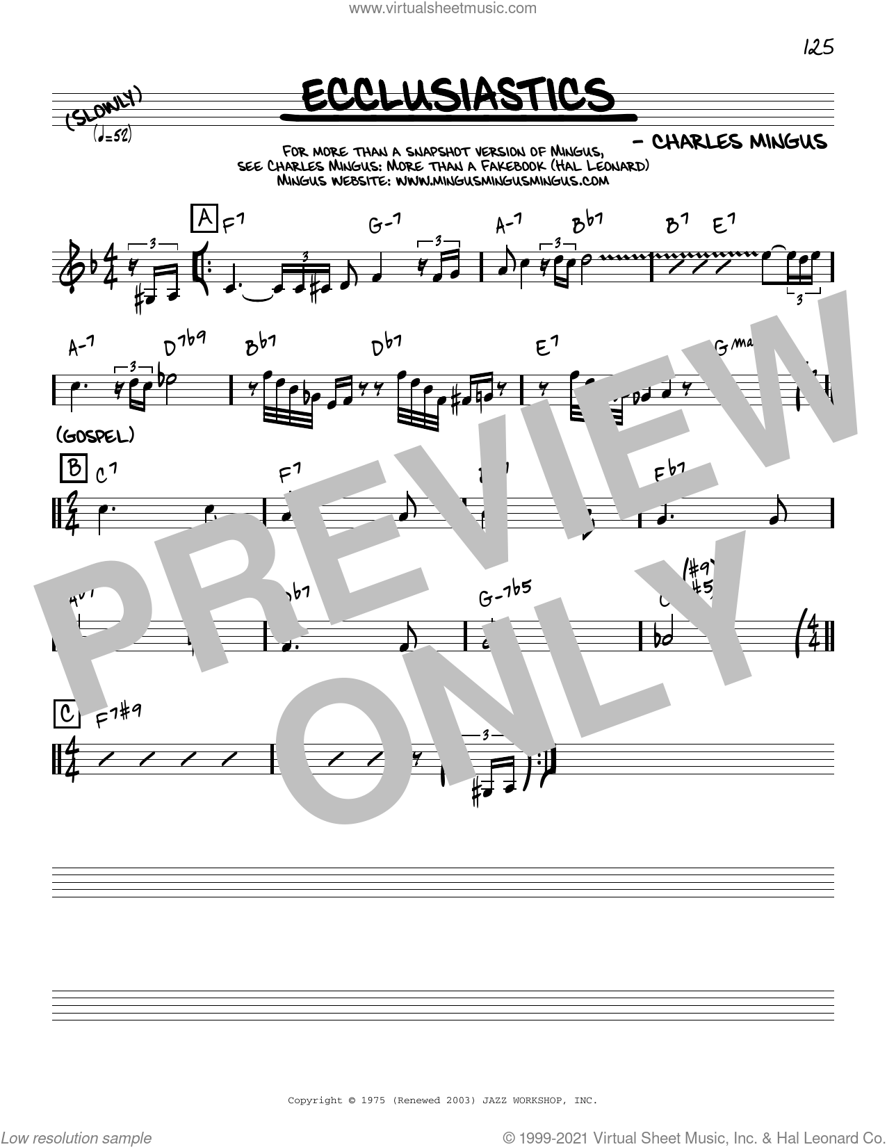 Ecclusiastics [Reharmonized version] (arr. Jack Grassel) sheet music for voice and other instruments (real book) by Charles Mingus and Jack Grassel, intermediate skill level