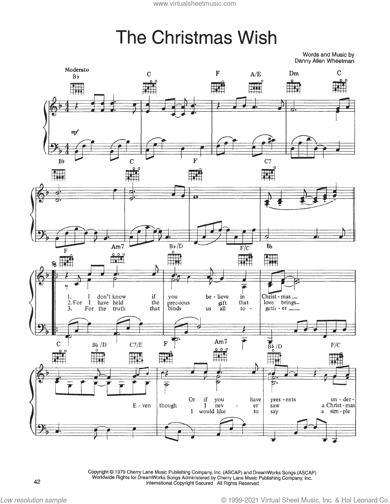 The Christmas Wish (from A Christmas Together) sheet music for voice, piano or guitar by John Denver and The Muppets and Danny Allen Wheetman, intermediate skill level