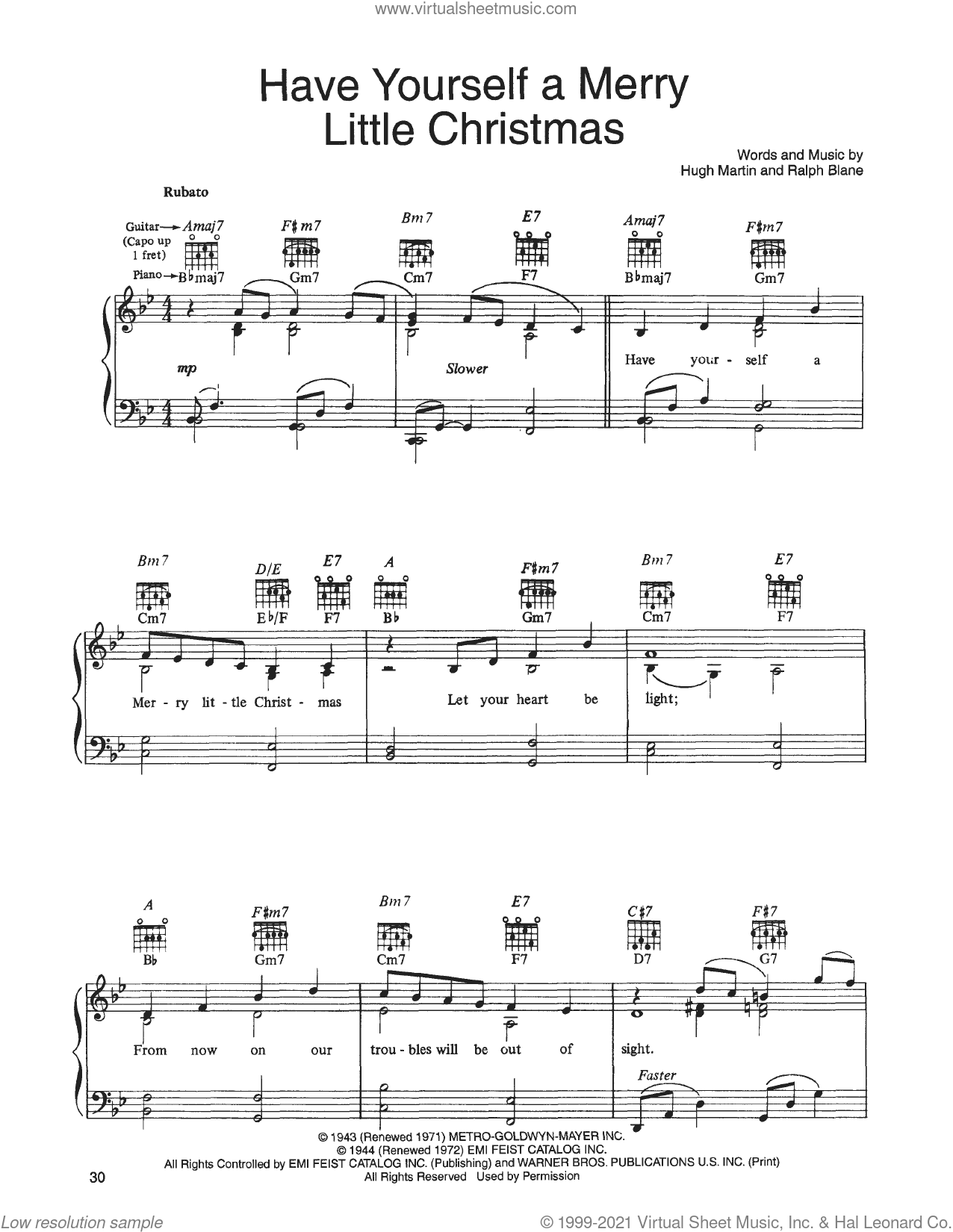 Have Yourself A Merry Little Christmas (from A Christmas Together) sheet music for voice, piano or guitar by John Denver and The Muppets, Hugh Martin and Ralph Blane, intermediate skill level