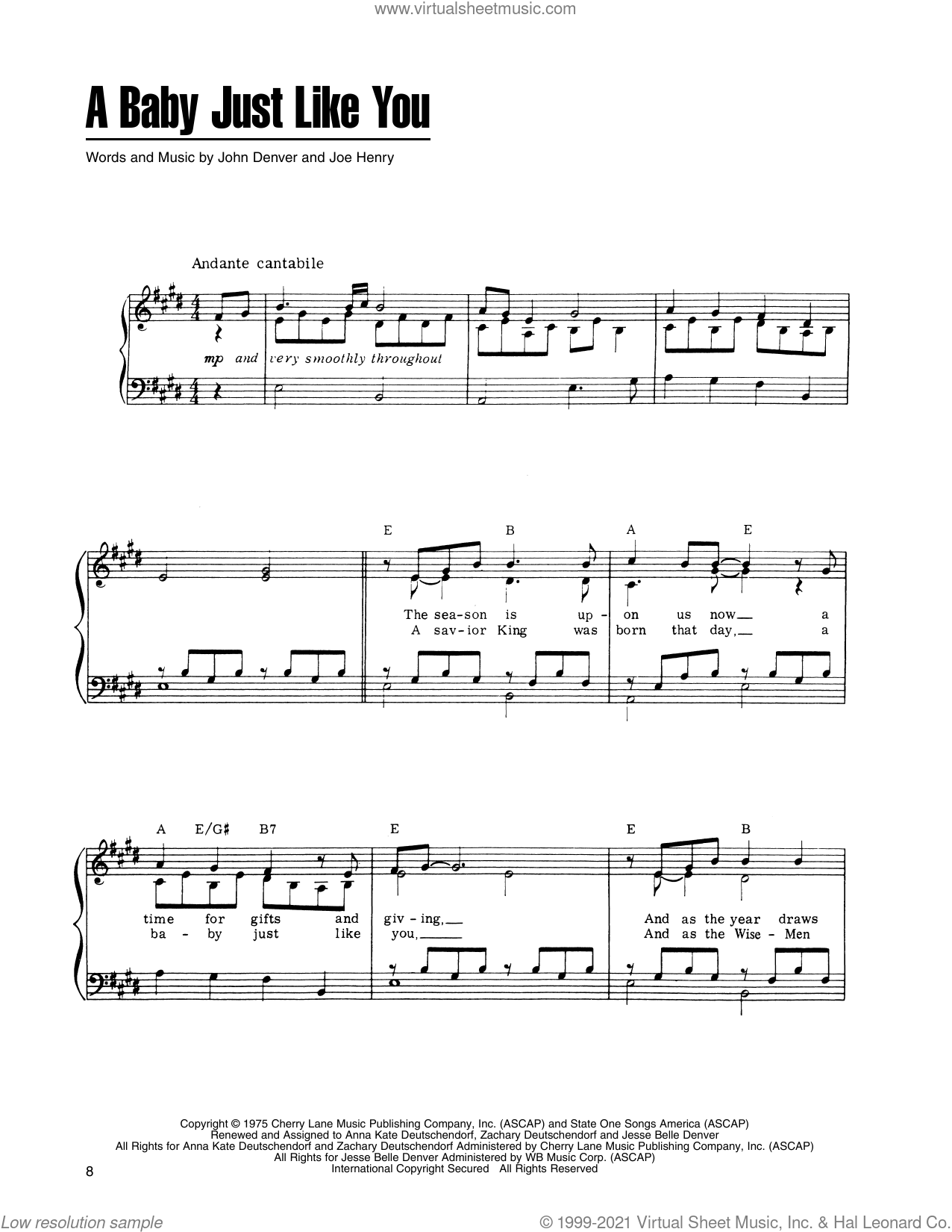 A Baby Just Like You (from A Christmas Together) sheet music for voice, piano or guitar by John Denver and The Muppets and Joe Henry, intermediate skill level