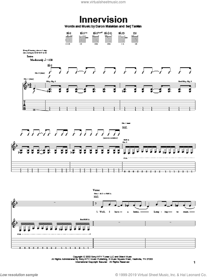 Innervision sheet music for guitar (tablature) by Serj Tankian and System Of A Down. Score Image Preview.