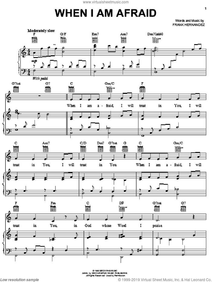 When I Am Afraid sheet music for voice, piano or guitar by Frank Hernandez, intermediate skill level
