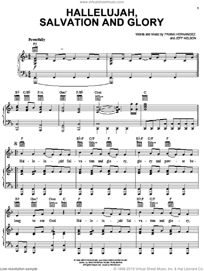 Hallelujah, Salvation And Glory sheet music for voice, piano or guitar by Frank Hernandez and Jeff Nelson, intermediate