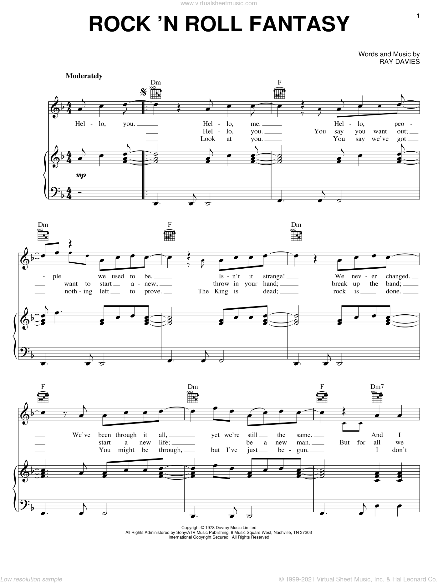 Rock 'N Roll Fantasy sheet music for voice, piano or guitar by The Kinks and Ray Davies, intermediate