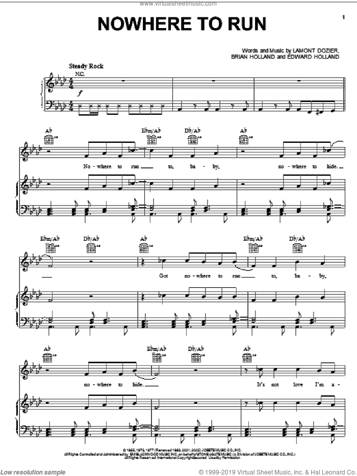 Nowhere To Run sheet music for voice, piano or guitar by Martha & The Vandellas, The Isley Brothers, Brian Holland, Eddie Holland and Lamont Dozier, intermediate skill level