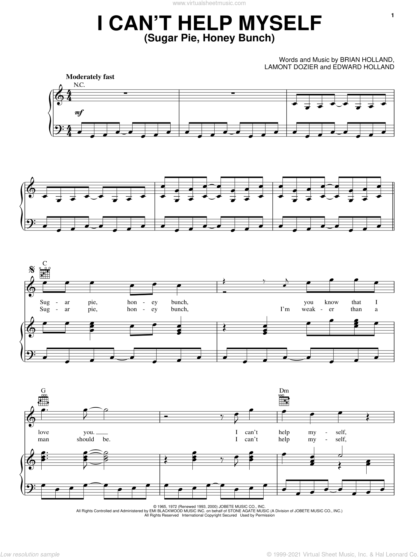 I Can't Help Myself (Sugar Pie, Honey Bunch) sheet music for voice, piano or guitar by The Four Tops, Brian Holland, Eddie Holland and Lamont Dozier, intermediate voice, piano or guitar. Score Image Preview.