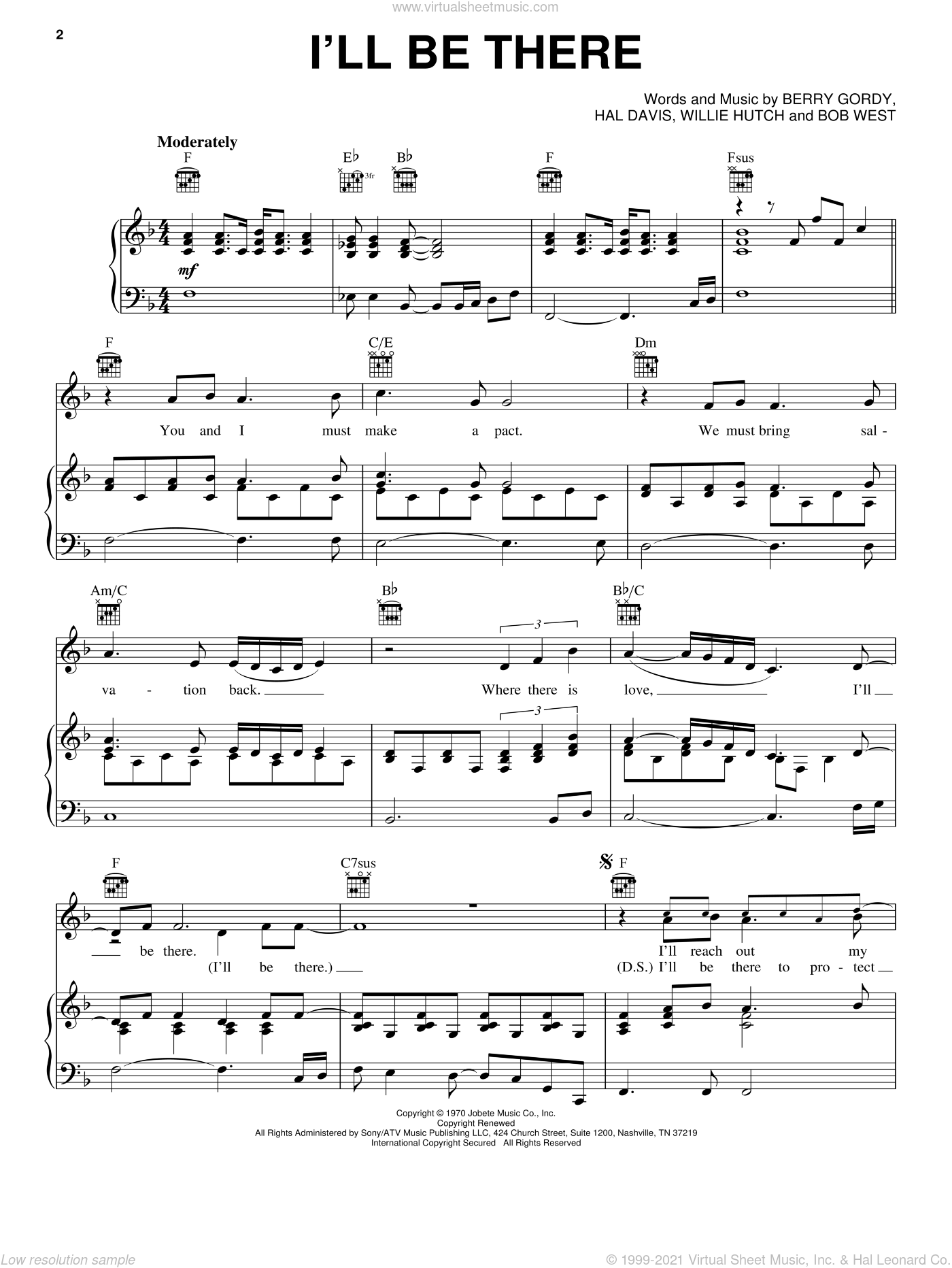 I'll Be There sheet music for voice, piano or guitar by Mariah Carey, Michael Jackson, The Jackson 5, Berry Gordy, Hal Davis and Willie Hutch, intermediate skill level