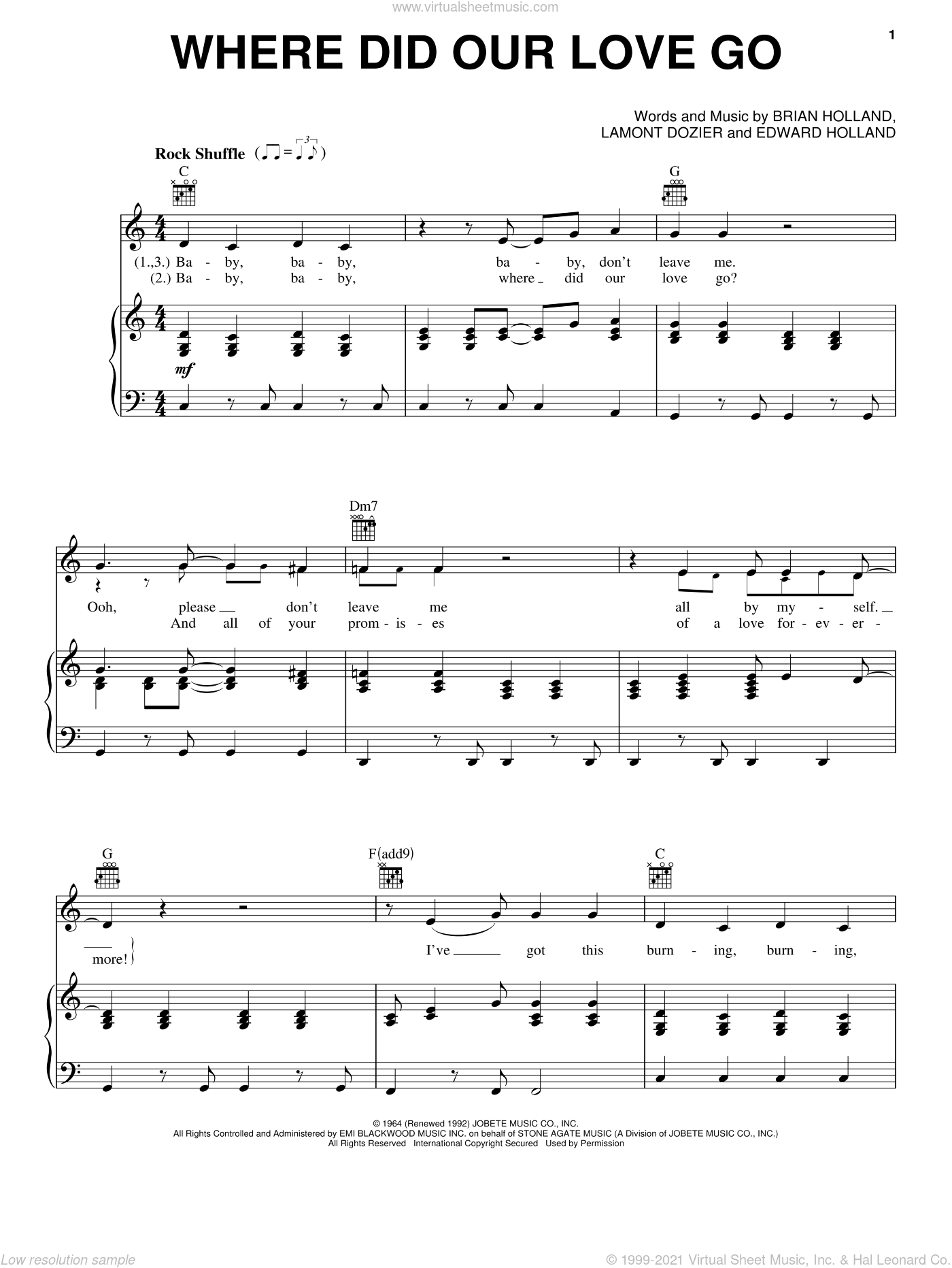 Where Did Our Love Go sheet music for voice, piano or guitar by The Supremes, Brian Holland, Eddie Holland and Lamont Dozier, intermediate. Score Image Preview.