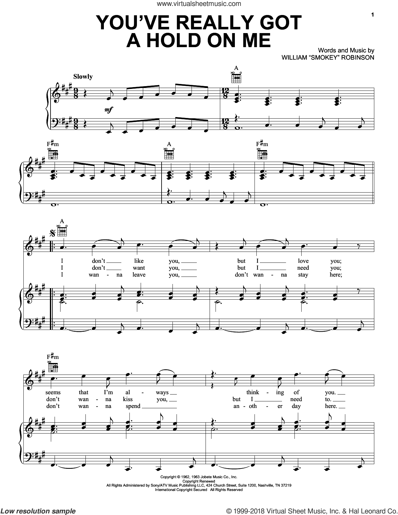 You've Really Got A Hold On Me sheet music for voice, piano or guitar by Smokey Robinson & The Miracles, The Beatles and The Miracles, intermediate skill level