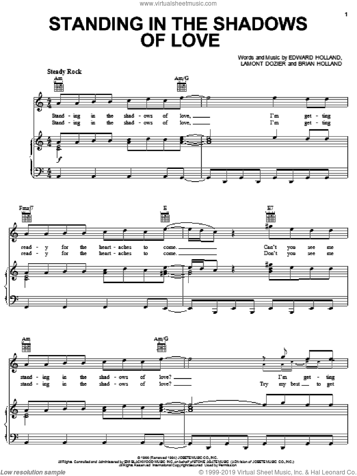 Standing In The Shadows Of Love sheet music for voice, piano or guitar by The Four Tops, Brian Holland, Eddie Holland and Lamont Dozier. Score Image Preview.