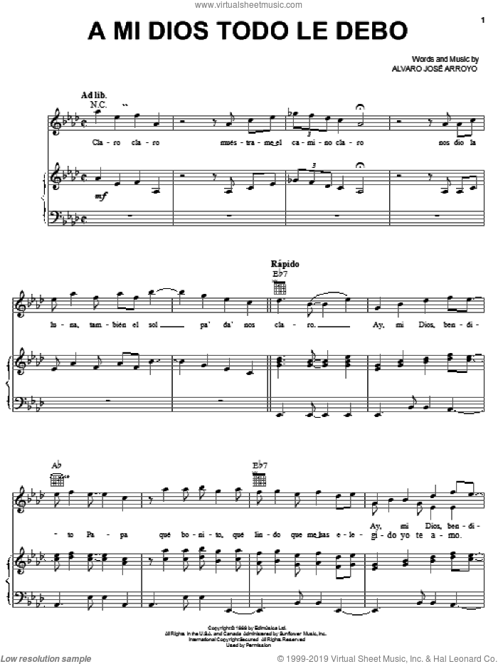 A Mi Dios Todo Le Debo sheet music for voice, piano or guitar by Alvaro José Arroyo, intermediate skill level