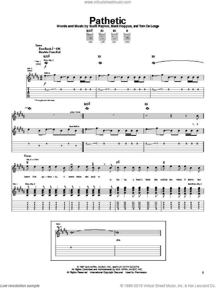 Pathetic sheet music for guitar (tablature) by Blink-182, Mark Hoppus, Scott Raynor and Tom DeLonge, intermediate