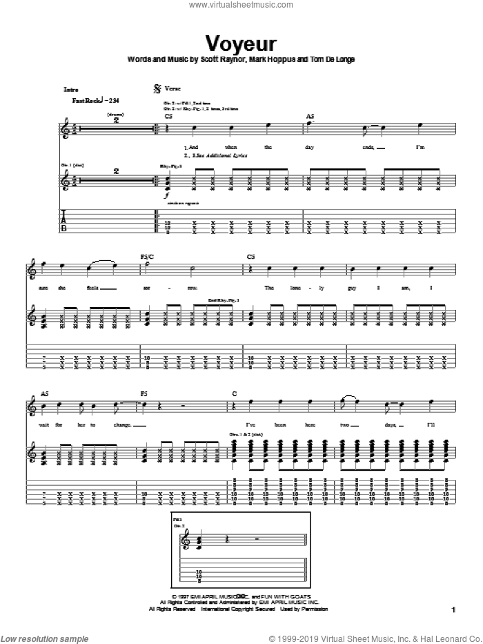 Voyeur sheet music for guitar (tablature) by Tom DeLonge, Blink-182 and Mark Hoppus. Score Image Preview.