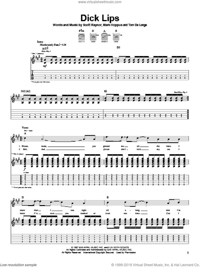 Dick Lips sheet music for guitar (tablature) by Tom DeLonge, Blink-182 and Mark Hoppus. Score Image Preview.