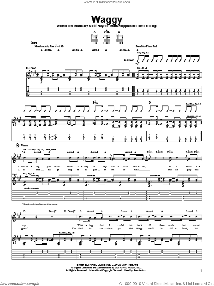 Waggy sheet music for guitar (tablature) by Blink-182, intermediate guitar (tablature). Score Image Preview.