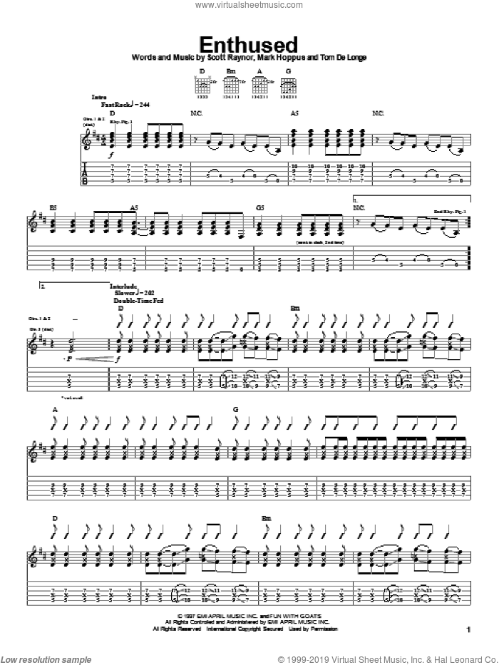 Enthused sheet music for guitar (tablature) by Blink-182, intermediate. Score Image Preview.
