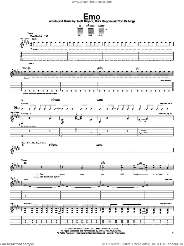 Emo sheet music for guitar (tablature) by Blink-182, Mark Hoppus, Scott Raynor and Tom DeLonge, intermediate skill level