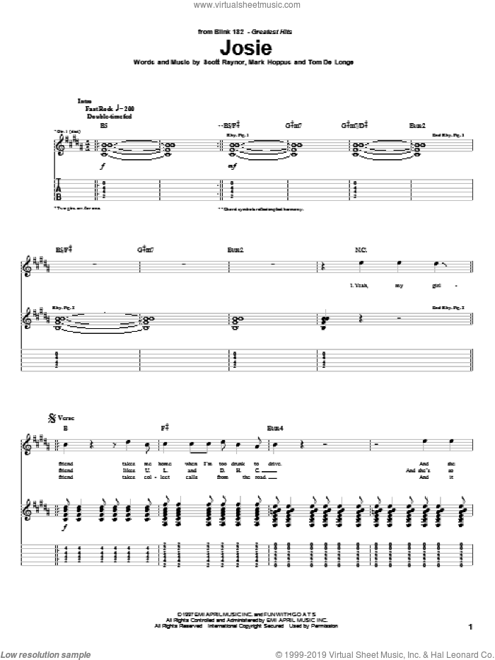 Josie sheet music for guitar (tablature) by Tom DeLonge, Blink-182 and Mark Hoppus. Score Image Preview.
