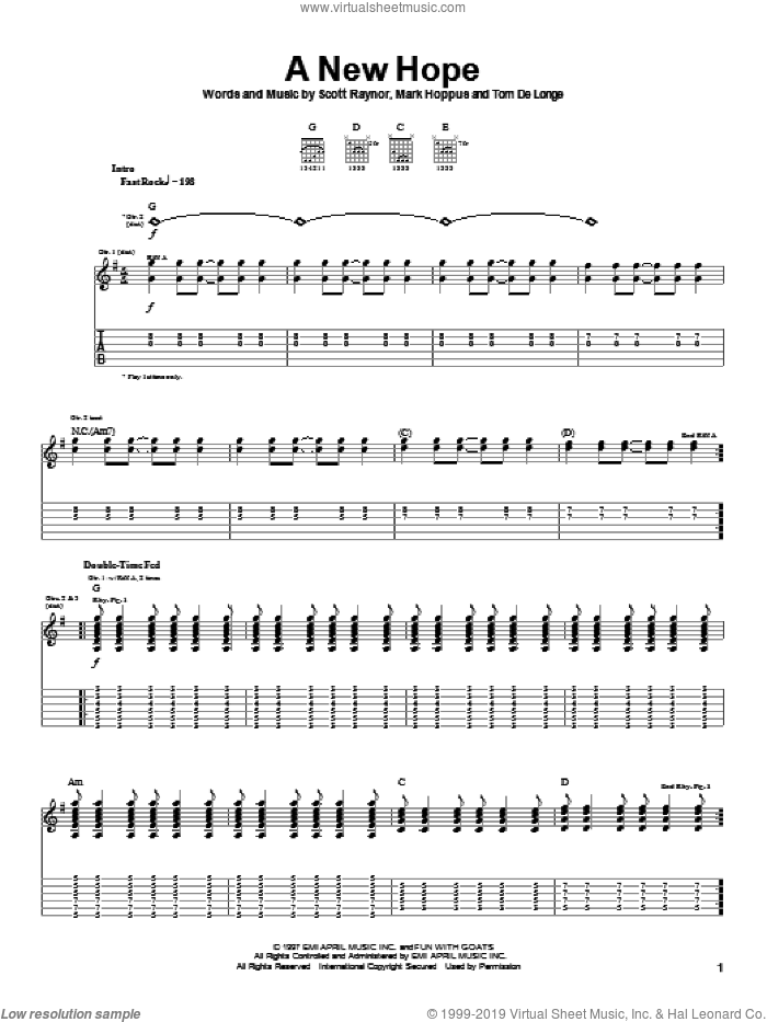 A New Hope sheet music for guitar (tablature) by Tom DeLonge, Blink-182 and Mark Hoppus. Score Image Preview.