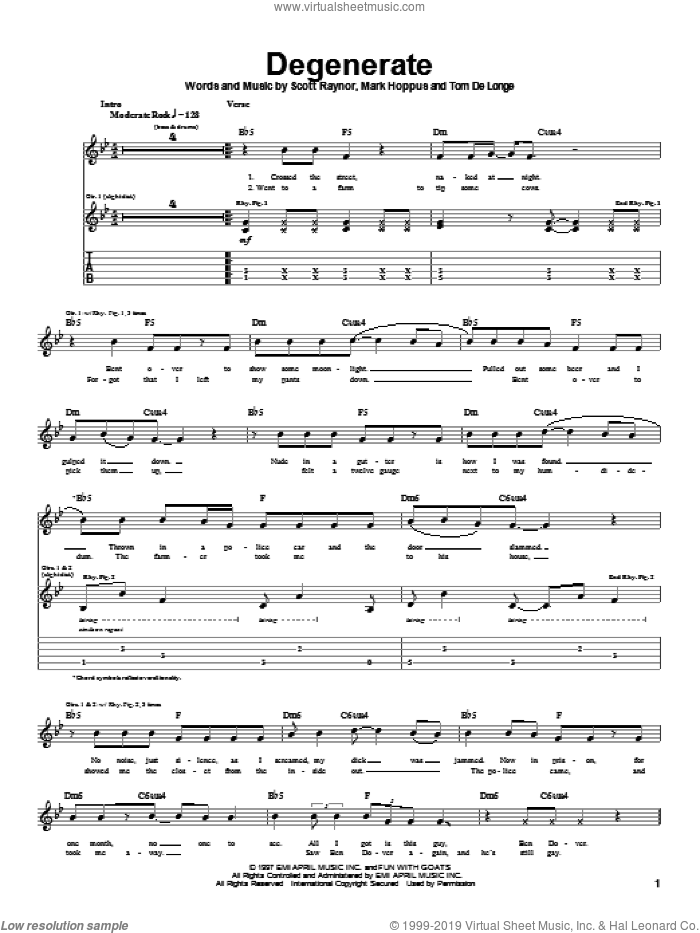 Degenerate sheet music for guitar (tablature) by Blink-182. Score Image Preview.