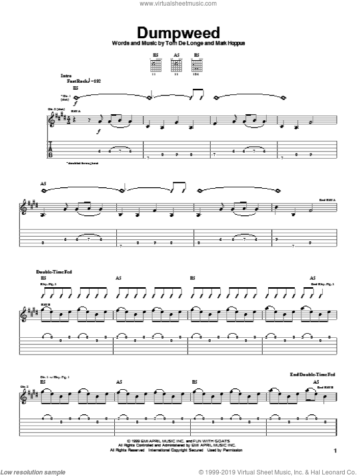 Dumpweed sheet music for guitar (tablature) by Blink-182, Mark Hoppus and Tom DeLonge, intermediate skill level