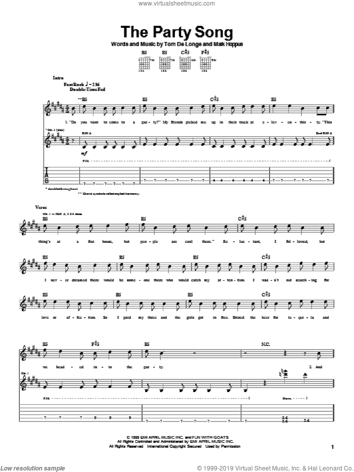 The Party Song sheet music for guitar (tablature) by Blink-182, Mark Hoppus and Tom DeLonge, intermediate skill level