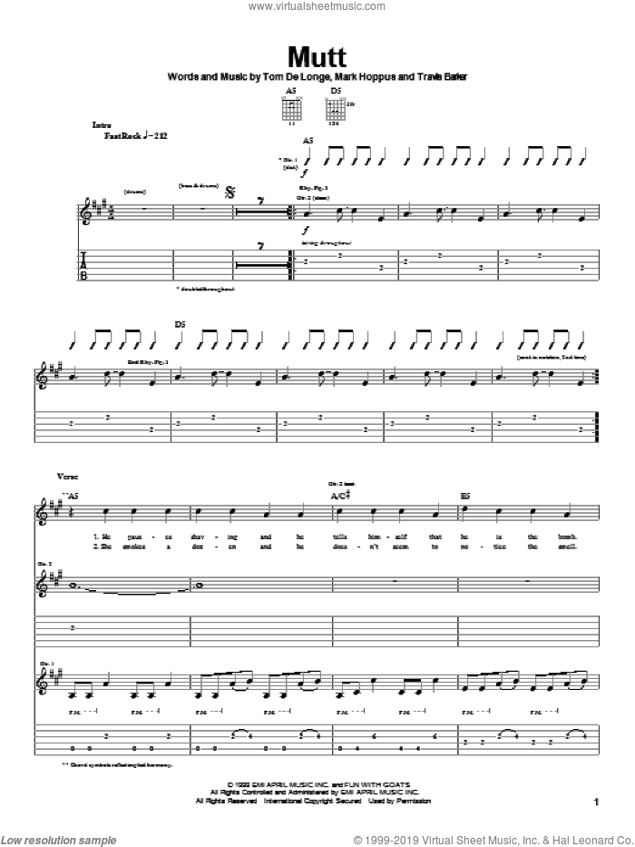 Mutt sheet music for guitar (tablature) by Blink-182, Mark Hoppus, Tom DeLonge and Travis Barker, intermediate skill level