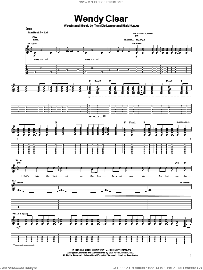 Wendy Clear sheet music for guitar (tablature) by Blink-182, Mark Hoppus and Tom DeLonge, intermediate skill level