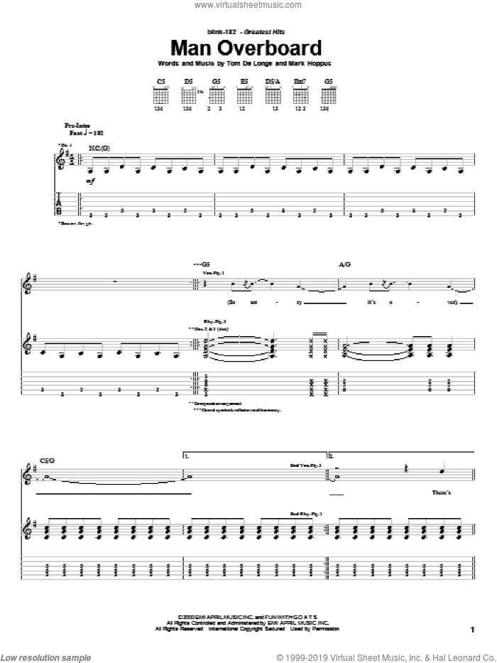 Man Overboard sheet music for guitar (tablature) by Blink-182, Mark Hoppus and Tom DeLonge, intermediate skill level