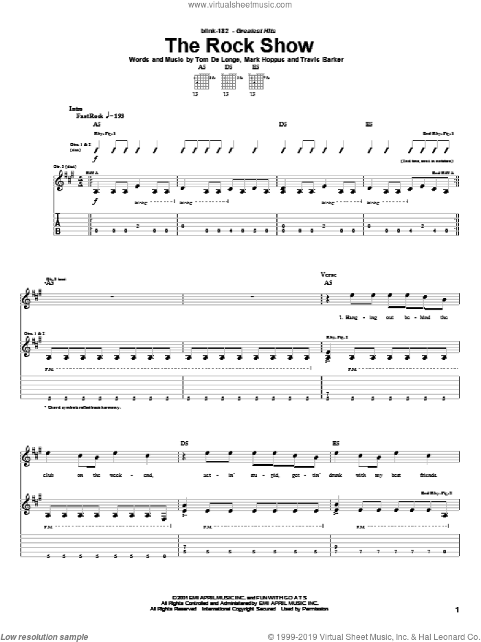 The Rock Show sheet music for guitar (tablature) by Blink-182, Mark Hoppus, Tom DeLonge and Travis Barker, intermediate skill level