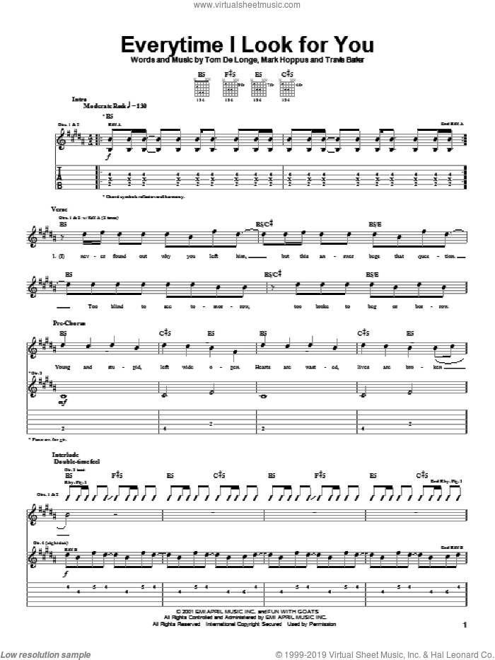 Everytime I Look For You sheet music for guitar (tablature) by Blink-182, Mark Hoppus, Tom DeLonge and Travis Barker, intermediate skill level
