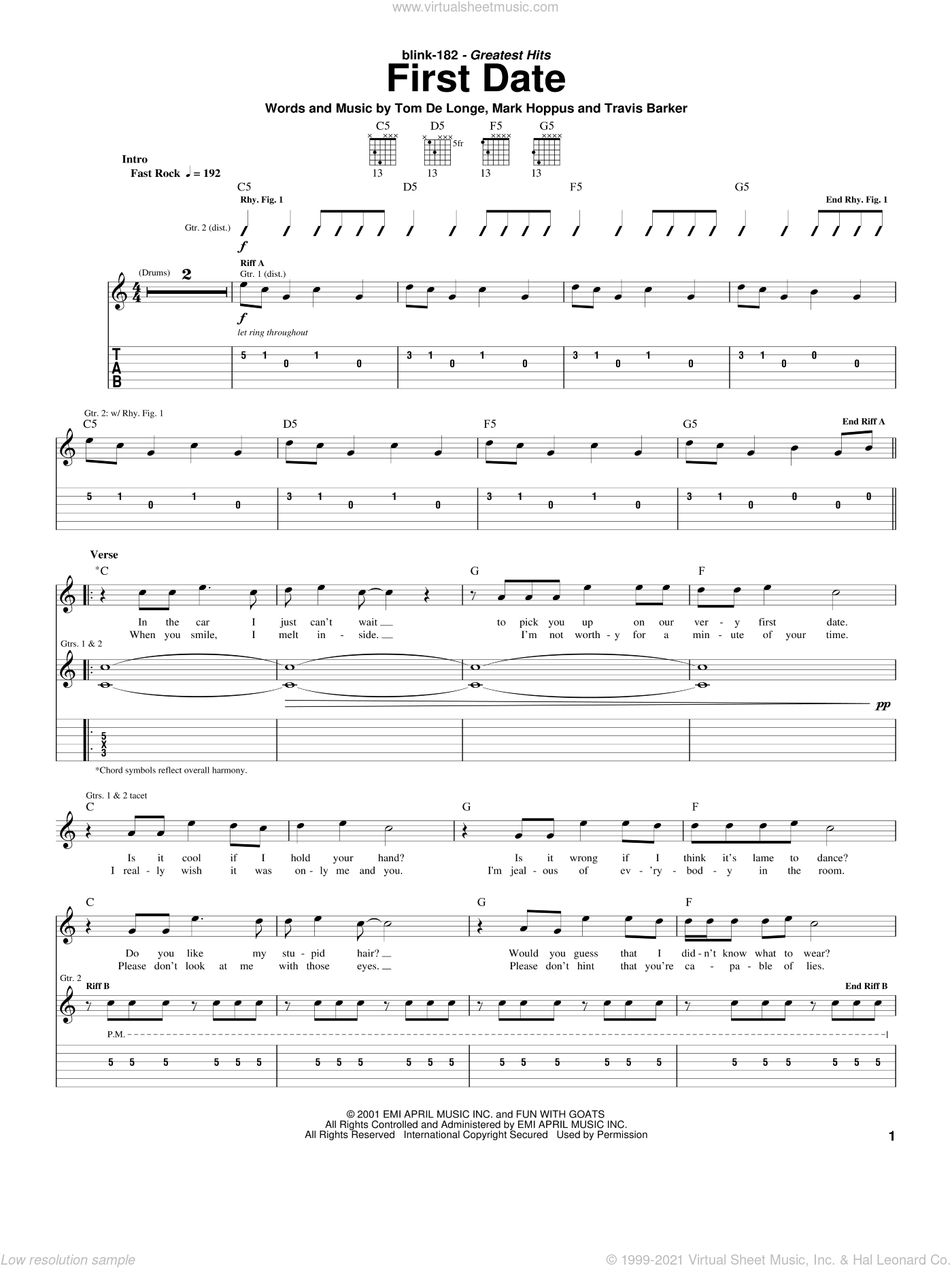 First Date sheet music for guitar (tablature) by Blink-182, Mark Hoppus, Tom DeLonge and Travis Barker, intermediate. Score Image Preview.