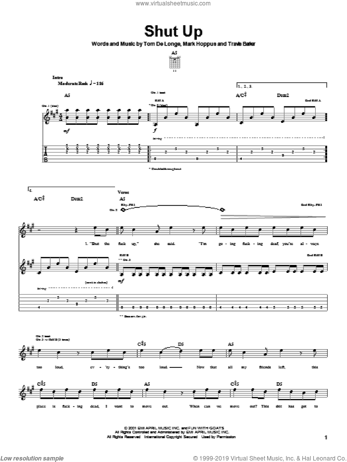 Shut Up sheet music for guitar (tablature) by Blink-182. Score Image Preview.