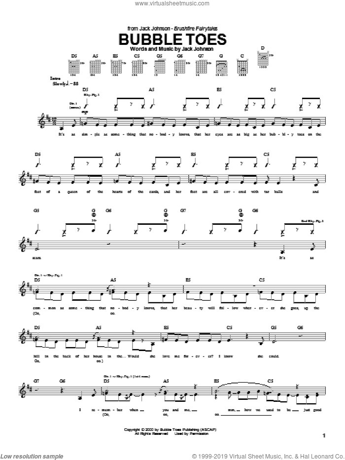 Bubble Toes sheet music for guitar (tablature) by Jack Johnson, intermediate