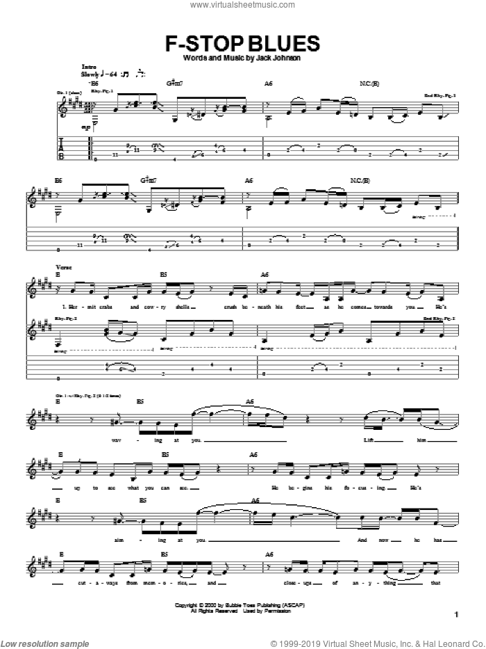 F-Stop Blues sheet music for guitar (tablature) by Jack Johnson, intermediate guitar (tablature). Score Image Preview.