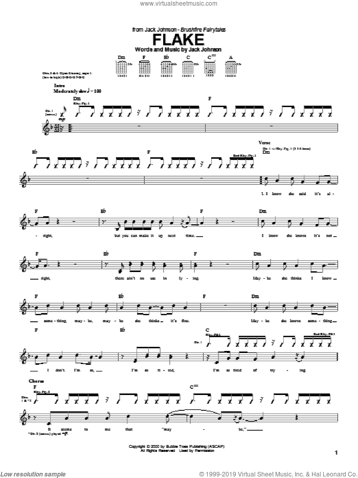 Flake sheet music for guitar (tablature) by Jack Johnson, intermediate. Score Image Preview.