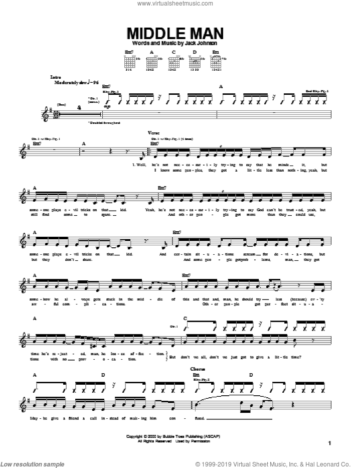 Middle Man sheet music for guitar (tablature) by Jack Johnson. Score Image Preview.