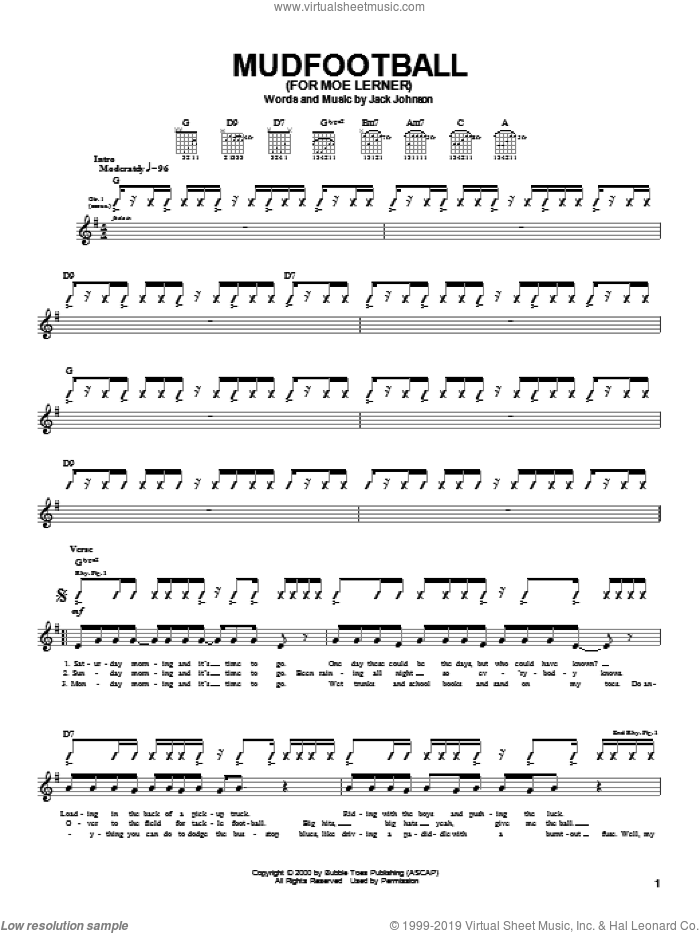 Mudfootball (For Moe Lerner) sheet music for guitar (tablature) by Jack Johnson. Score Image Preview.