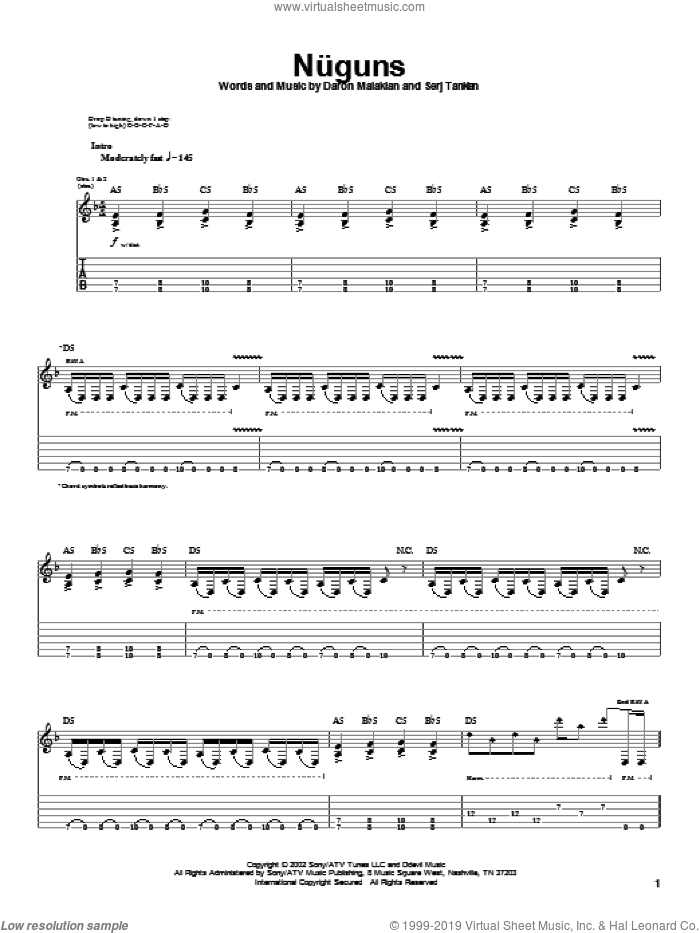 Nuguns sheet music for guitar (tablature) by Serj Tankian