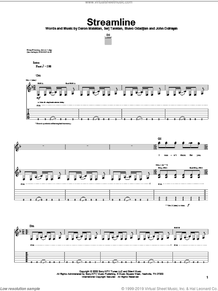 Streamline sheet music for guitar (tablature) by Shavo Odadjian, System Of A Down and Serj Tankian. Score Image Preview.