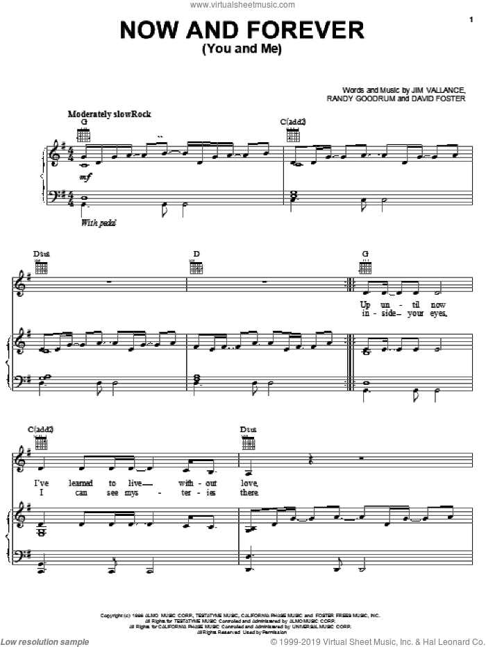 Now And Forever (You And Me) sheet music for voice, piano or guitar by Jim Vallance