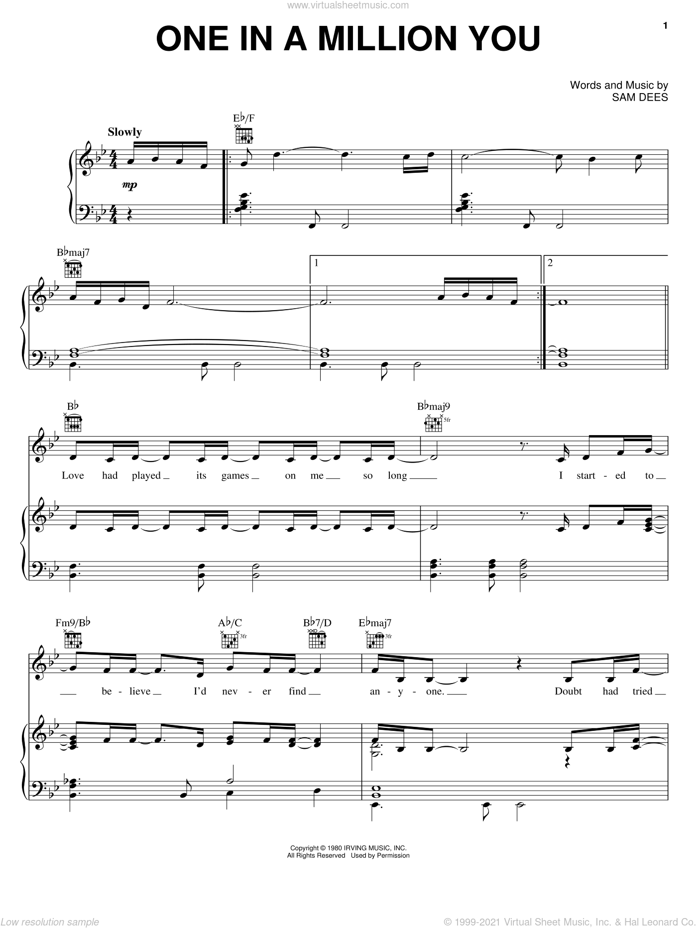 One In A Million You sheet music for voice, piano or guitar by Sam Dees