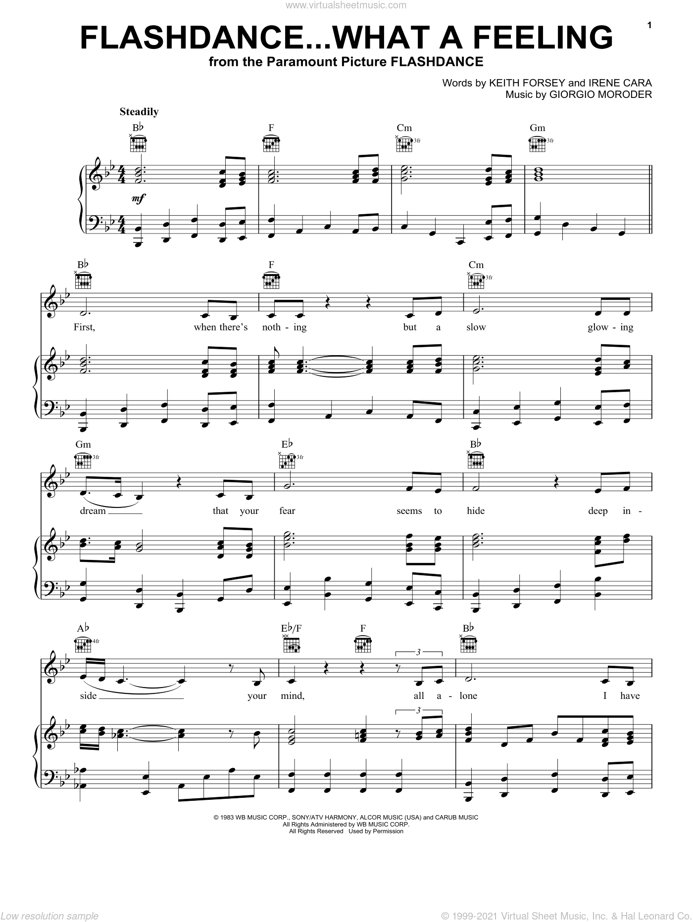 Flashdance...What A Feeling sheet music for voice, piano or guitar by Irene Cara, Giorgio Moroder and Keith Forsey, intermediate. Score Image Preview.