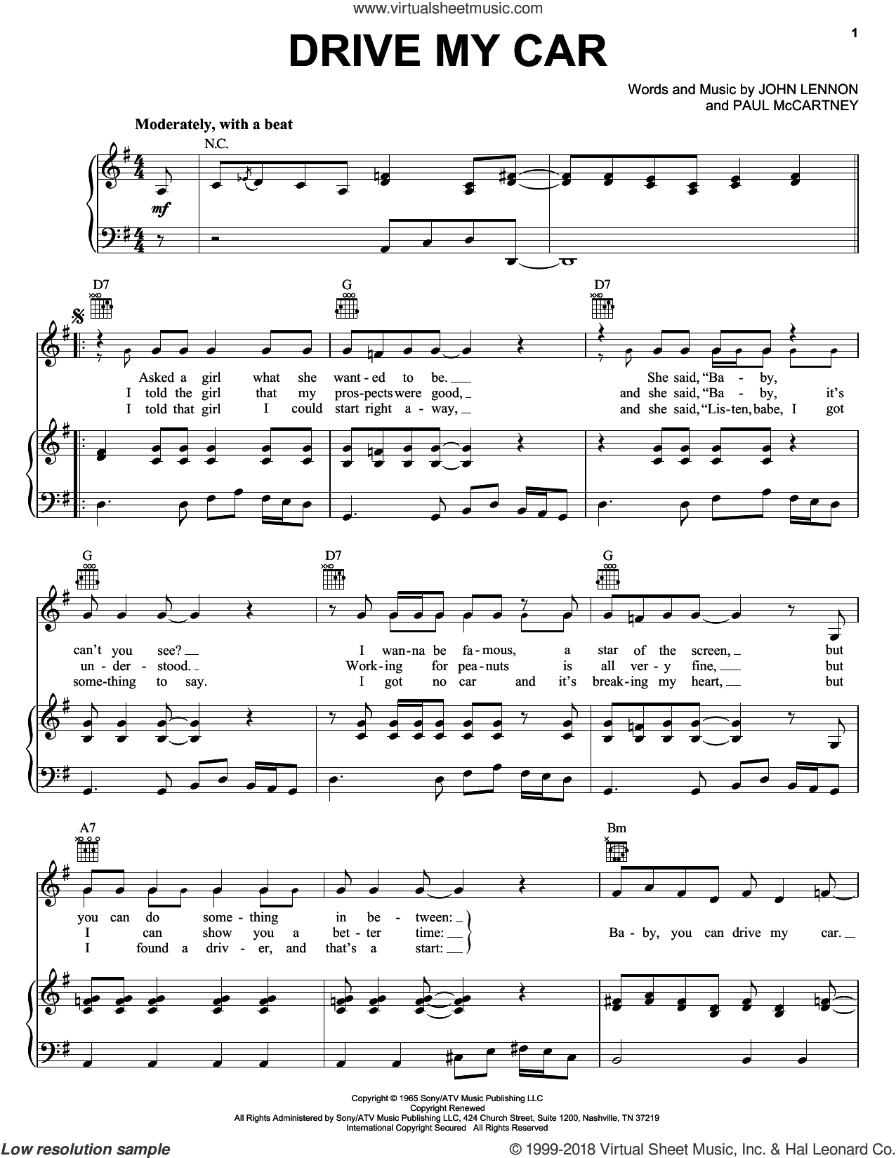 Drive My Car sheet music for voice, piano or guitar by The Beatles, John Lennon and Paul McCartney, intermediate skill level